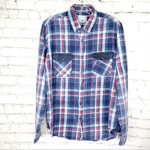 EUC-1975 Original Denim Plaid Flannel Collar Shirt